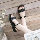 黑色涼鞋女士2021年夏季新款時尚仙女風學生百搭平底鞋ins潮夏天 小艾新品