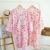 女棉質紗布睡裙開衫薄款睡衣睡袍日式美容院和服浴衣家居服大碼 【販衣小築】