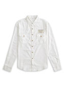 BOBSON 男款腰線素面長袖襯衫(白34005-80)