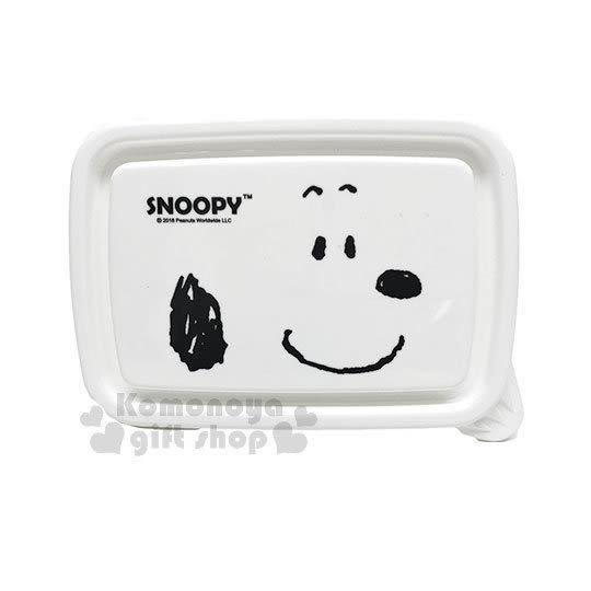 〔小禮堂〕史努比 透明保鮮盒《白.大臉》450ml.便當盒.收納盒 4712977-46301