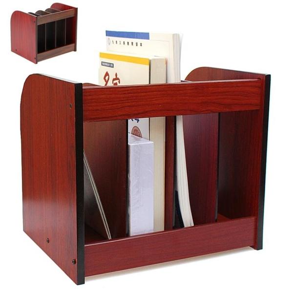 辦公用品文件架四聯文件框資料架文件欄文件筐收納 木質書立WY【八折搶購】