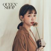 Queen Shop【07030580】霧面長方形耳針式環 兩色售*現+預*