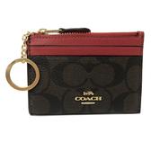 【COACH】新款PVC皮革悠遊卡鑰匙零錢包(深咖/紅)