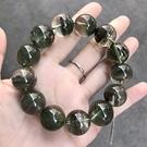 『晶鑽水晶』天然千層綠幽靈 A級手鍊 約17mm 超大顆圓珠 帶彩幽 招財 招貴人 禮物 附禮盒