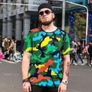 FINDSENSE品牌監製 大尺碼男裝 時尚迷彩冰絲寬鬆加肥加大個性印花短袖夏季