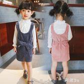 中大尺碼女童純色背帶裙童裝2019春新款韓版寶寶純棉裙子小女孩兒童公主裙 GW168【科炫3c】