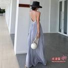 度假風洋裝 女神范吊帶連身裙夏超仙性感露背沙灘裙大擺超長款氣質度假風長裙