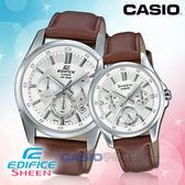 CASIO 卡西歐 手錶專賣店 國隆 EDIFICE SHEEN EFR-560L-7A+SHE-3060L-7A 三眼對錶 皮革錶帶 銀 防水 日期顯示