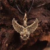 尼泊爾西藏飾品黃銅大鵬金翅鳥佛像掛件小牌項鍊吊墜護身符助事業