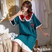 睡裙女夏棉質短袖全棉春夏季連身裙女士睡衣寬鬆可愛全棉卡通家居服 LR20780『3C環球數位館』