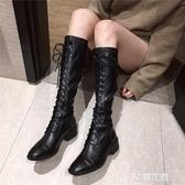2019秋季新款韓版高筒繫帶靴時尚百搭長筒粗跟中跟靴馬丁靴女鞋潮『艾麗花園』