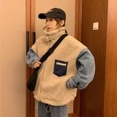 冬季2019新款韓版牛仔拼接仿羊羔毛外套女寬鬆加厚保暖棉衣棉服