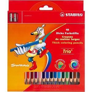 Trio thick系列三角筆身色鉛筆18支裝+削筆器組合(1盒18色)紙盒裝