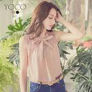 微透肌的氣質蕾絲拼接,小立領綁結蝴蝶結,搭配長裙,甜美氣質。