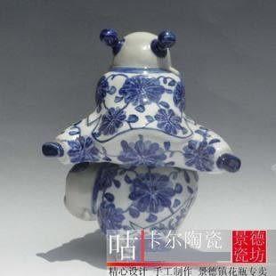 景德鎮陶瓷器 手繪青花瓷 小泥人