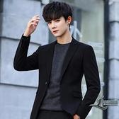 休閒西裝商務小西裝韓版修身青年外套單西素色上衣【邻家小鎮】
