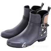 BURBERRY HOUSE 格紋拼接設計雨靴(黑色) 1510112-01
