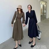 長洋裝 秋裝2020年新款法式復古V領長袖洋裝女氣質綁帶收腰中長款A字裙 喜迎新春
