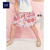 Gap女童 趣味印花寬擺半身短裙 336788-粉色