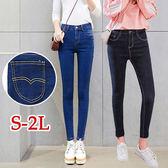 BOBO小中大尺碼【80853】中腰後口袋弧線顯瘦窄管褲-S-2L-共2色