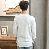 夏季個性棉麻修身七分袖T恤男不規則中袖上衣發型師短袖小衫潮流 ☸mousika