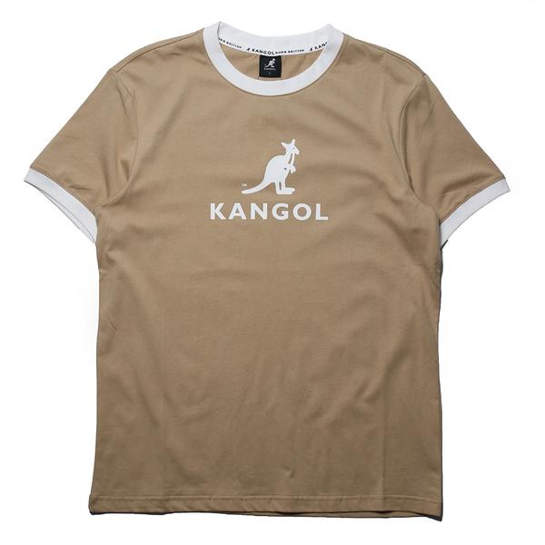 KANGOL 短袖 短T 袋鼠 卡其 滾白邊 大LOGO 男 (布魯克林) 6125101430