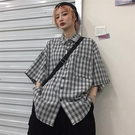 夏季2021款韓版ins港風復古格子短袖襯衫情侶bf寬松襯衣上衣女潮