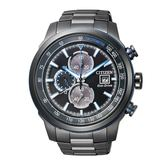 CITIZEN Eco Drive Chronograph全黑鋼計時三眼腕錶/黑鋼/CA0576-59E
