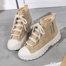 高筒帆布鞋女新款潮鞋冬加絨保暖二棉鞋韓版ulzzang百搭板鞋 享購