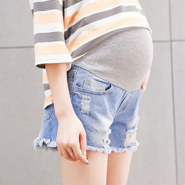 漂亮小媽咪 牛仔短褲 【P6611】 抽鬚 刮破 高腰 顯瘦 破洞 孕婦托腹褲 牛仔褲 孕婦短褲