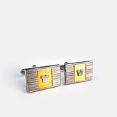 LANVIN双色刻紋金屬袖扣(銀色)880062-22