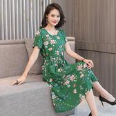2019新款中老年女裝洋裝夏短袖 40-50歲媽媽裝棉綢大碼裙子顯瘦 滿天星