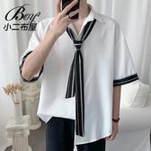 情侶襯衫 水手風領帶條紋袖口短襯衫【NW630004】