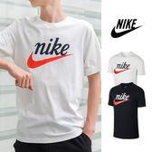 【GT】Nike NSW 黑白 短袖T恤 純棉 草寫 運動 休閒 上衣 短T Logo