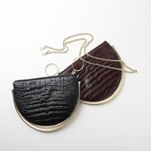 肩背包-真皮經典鱷魚紋半月鏈條女側背包2色73tn35【巴黎精品】