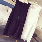 時尚百搭新款中長款打底蕾絲裙 內搭拼接背心裙 連衣裙