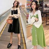 牛油果綠連衣裙女長款polo領小眾法式甜美韓版秋裝GB211A.6516胖胖唯依