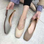 韓版平跟單鞋百搭軟底方頭女鞋一腳蹬平底奶奶鞋 伊莎公主
