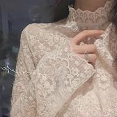 蕾絲上衣 秋冬新款洋氣小衫女半高領刺繡花精致內搭蕾絲衫超仙網紗打底上衣  suger