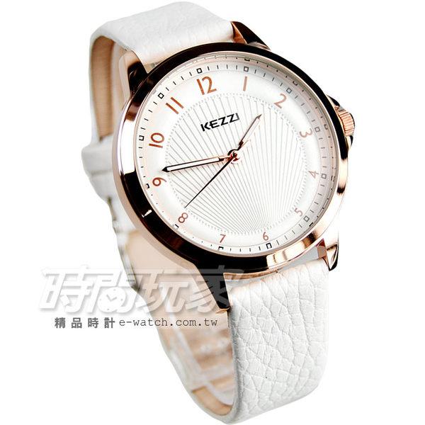 KEZZI珂紫 浪漫唯美經典時尚腕錶 皮革錶帶 女錶 白x玫瑰金 KE1164白大