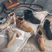 馬丁靴女粗跟短靴踝靴加絨蝴蝶結中跟鞋子 多色小屋