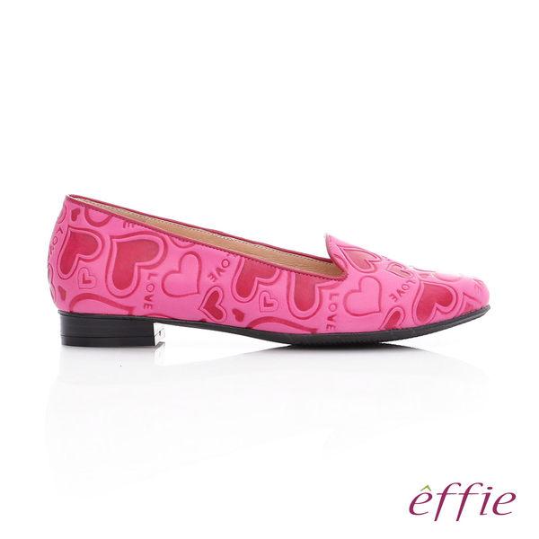 effie 都會舒適 全真皮愛心塗鴉平底鞋  桃粉紅