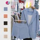 套裝 初夏西裝外套+棉麻短褲套裝 艾爾莎【TAE6333】