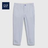 Gap 男幼童 清爽風格條紋休閒長褲 541905-藍灰色