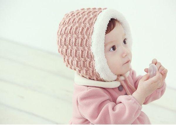 預購 - 男女寶寶護耳毛線帽子嬰兒童保暖加絨針織帽
