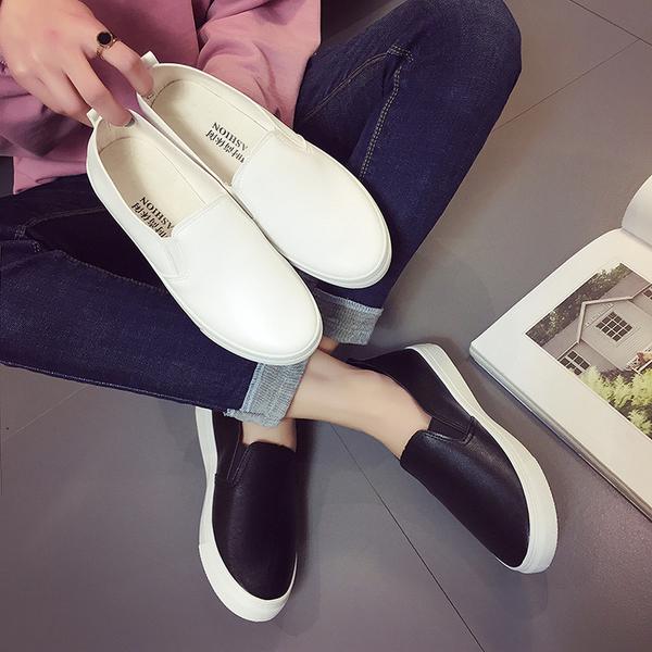 2019春小白鞋女皮面平底小黑鞋一腳蹬懶人鞋正韓休閒時尚女鞋潮
