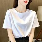 白色t恤女短袖2021年新款寬鬆圓領打底衫女內搭半袖純色上衣ins潮 果果輕時尚