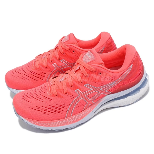 Asics 慢跑鞋 Gel-Kayano 28 D 寬楦 粉紅 白 藍 路跑 亞瑟士 女鞋 高支撐 【ACS】 1012B046700