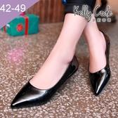 大尺碼女鞋-凱莉密碼-時尚簡約款糖果色漆皮尖頭平底鞋0.25cm(41-48偏窄)【HB223】黑色