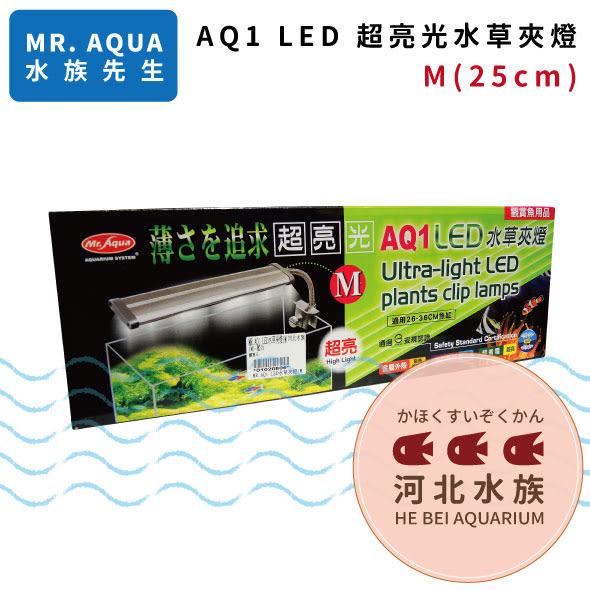 [ 河北水族 ] MR AQUA 水族先生 【 AQ1 LED 超亮光水草夾燈 M 25cm 】 LED燈 側夾燈 藍白燈